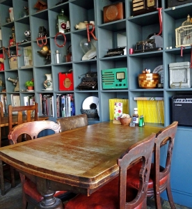 the front room cafe, interiors, book cafe